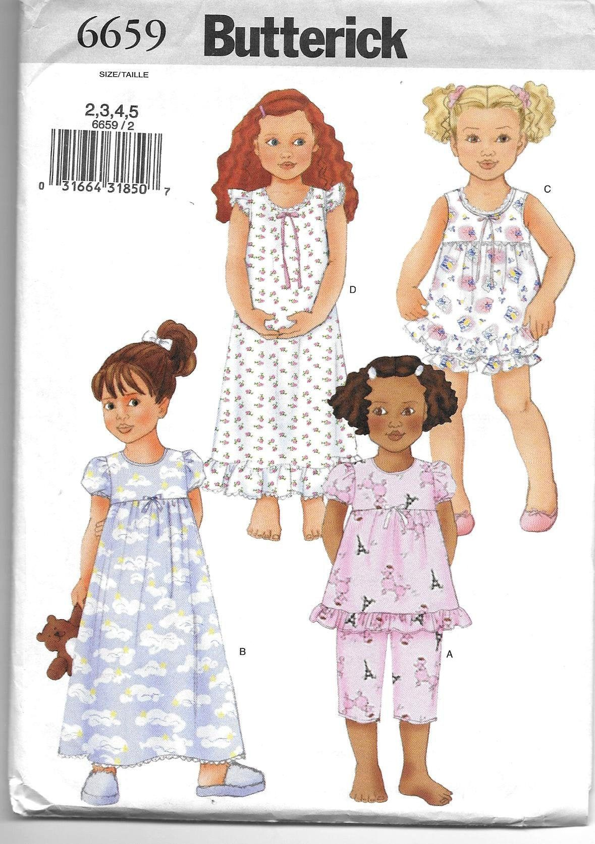 Sweet Little Girl S Nightgown And Pjs Sewing Pattern By Butterick