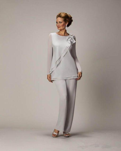 0f93cd821 Caliente Barato de Plata Madre Pantalones de Traje Para La Madre del Novio  de La Novia Señoras Gasa de Las Mujeres Del Banquete de Boda Vestidos de  Noche