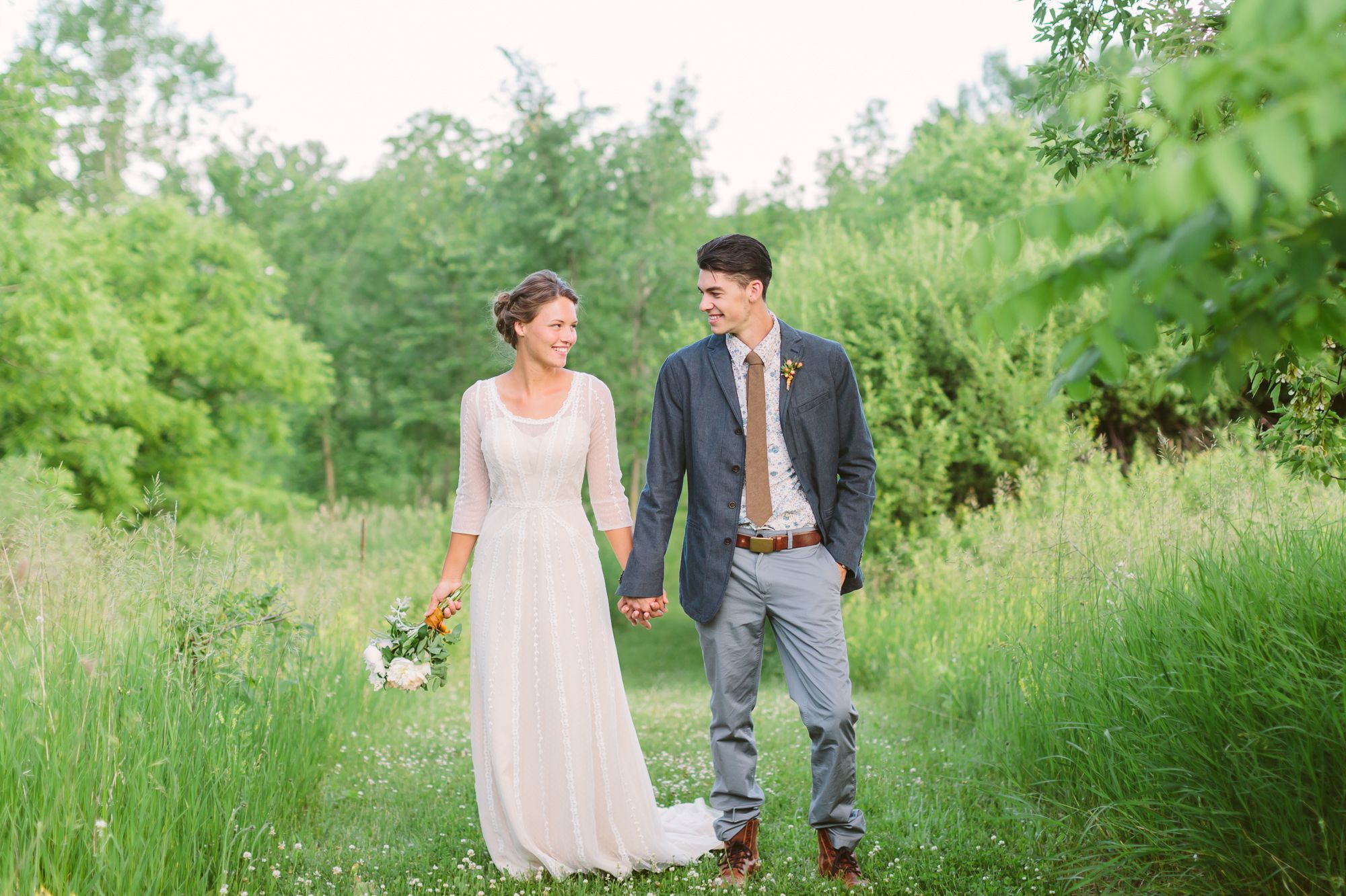 Natural wedding dresses  A Natural Wedding with a Vintage Twist at Givens Farm in Hortonville