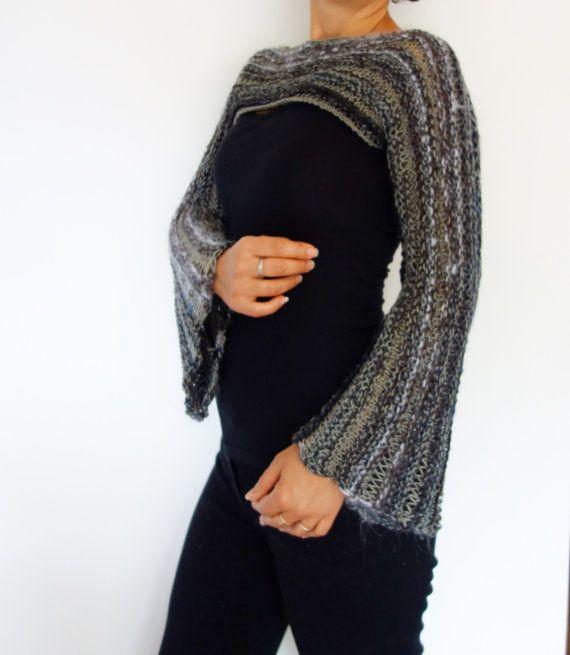 Knitting Pattern - Cropped Bohemian Top/ Boho Knit Shrug/ Over-Bust ...