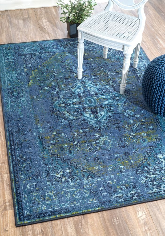 Traditional Vintage Inspired Overdyed Fancy Blue Area Rugs 9 Feet By 12