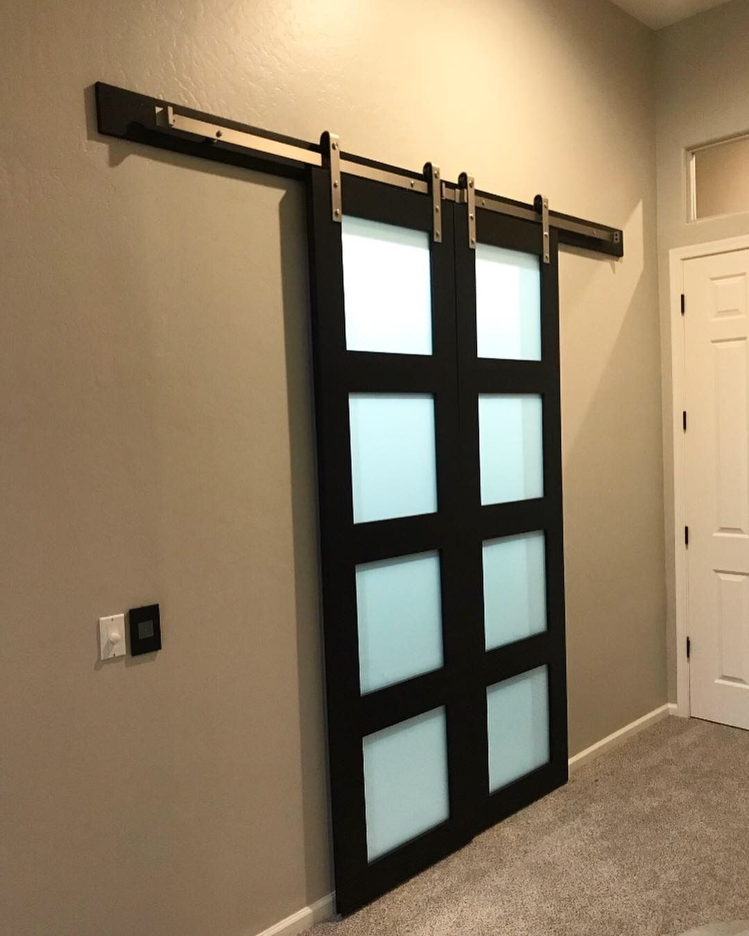 Closet Barn Doors With Privacy Glass By The Barn Door Store In Az Glass Barn Doors Barn Doors Sliding Store Door