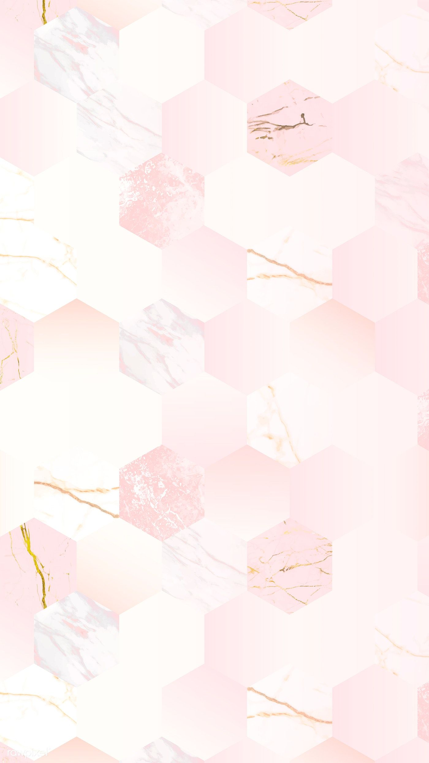 Pink feminine hexagon geometric background vector free