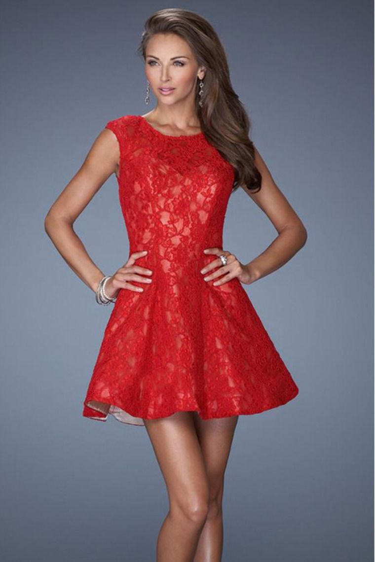 Red Lace Formal Dresses