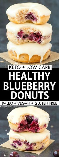 Baked Blueberry Donuts recipe made with NO yeast, NO sugar and NO dairy! Cake like donuts with a tender exterior, topped with a delicious glaze! #vegandonuts #donuts #ketodessert #eggless #kochenundbacken