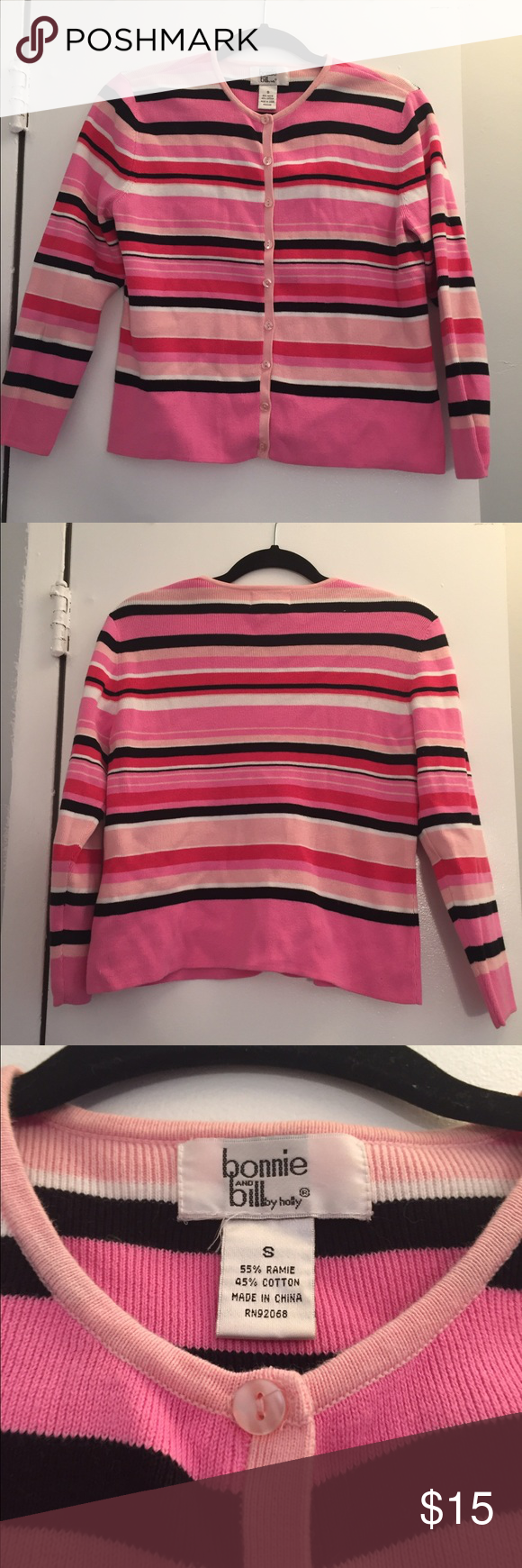 Pink Striped Button Down Sweater Small Cute button down Cardigan ...