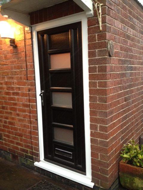 Bespoke Front Door In Black Upvc Made To Customers Specification