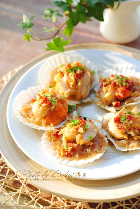 Steamed scallop in shell with garlic glass noodles steamed scallop in shell with garlic glass noodles recipe forumfinder Choice Image