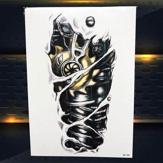 Henna Tattoo Für Jungs: Trendy 3d Robot Arm Temporary Tattoo Men Body Arm Legs