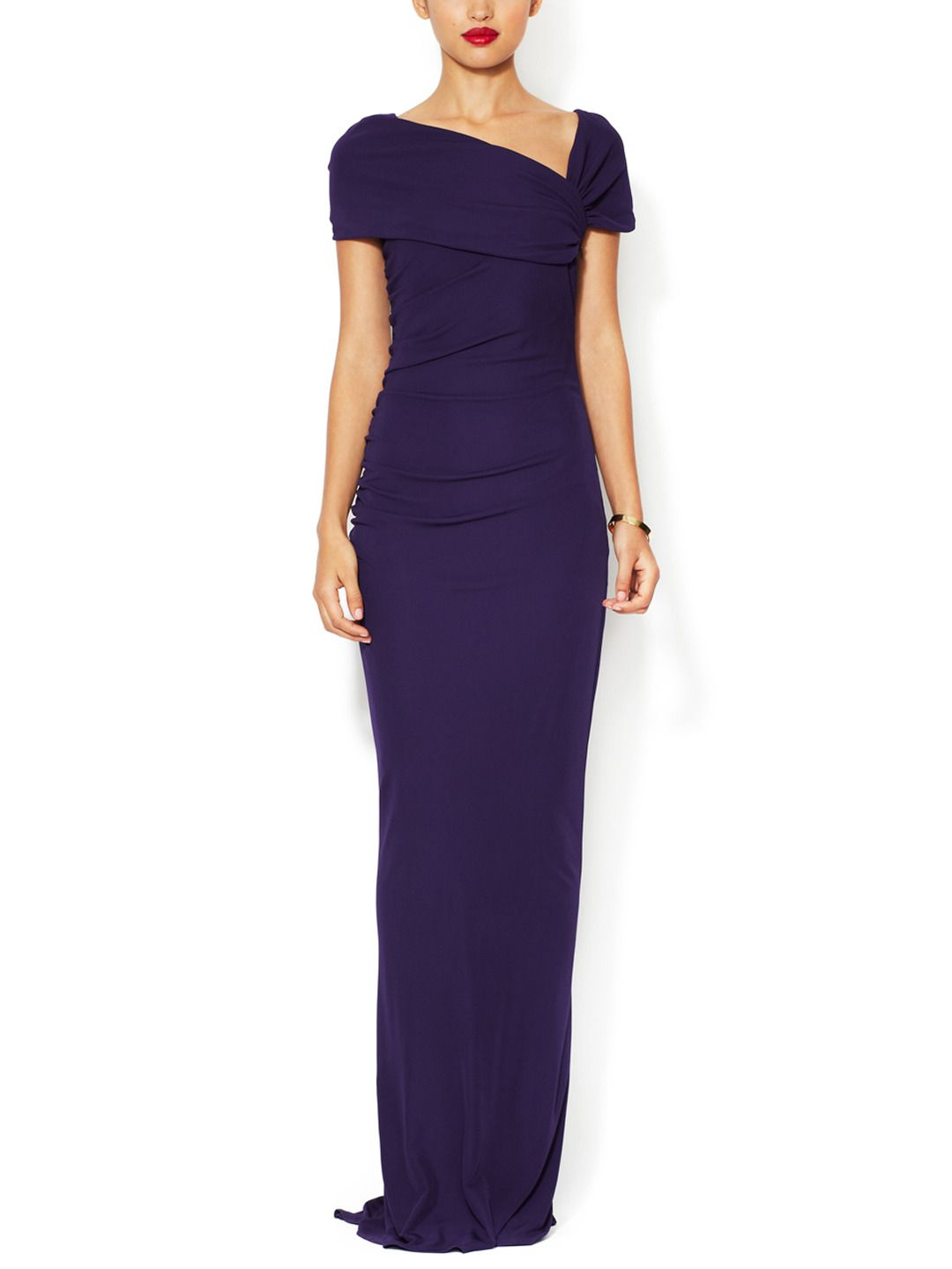 Jersey Asymmetrical Portrait Collar Gown by Badgley Mischka at Gilt
