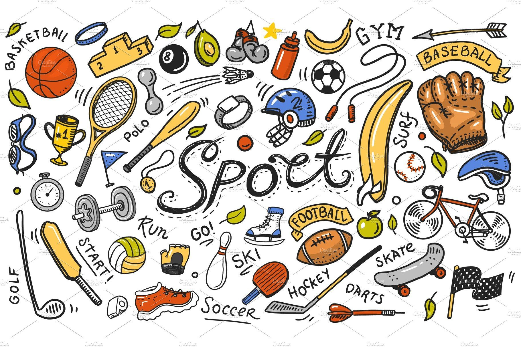 Sport Wallpaper Doodle: Set Of Sport Icons Doodle , #sponsored, #fitness#Equipment