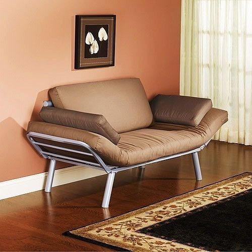 Euro Style Futon Metal Beige Couch Sofa Sleeper Convertible Bed Modern Furniture