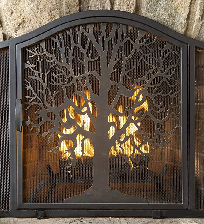 Amazon Com Plow Hearth Large Tree Of Life Metal Fireplace Screen With Single Hinged Door Free Standing Spark Gu In 2020 Metal Fireplace Fireplace Fireplace Screens