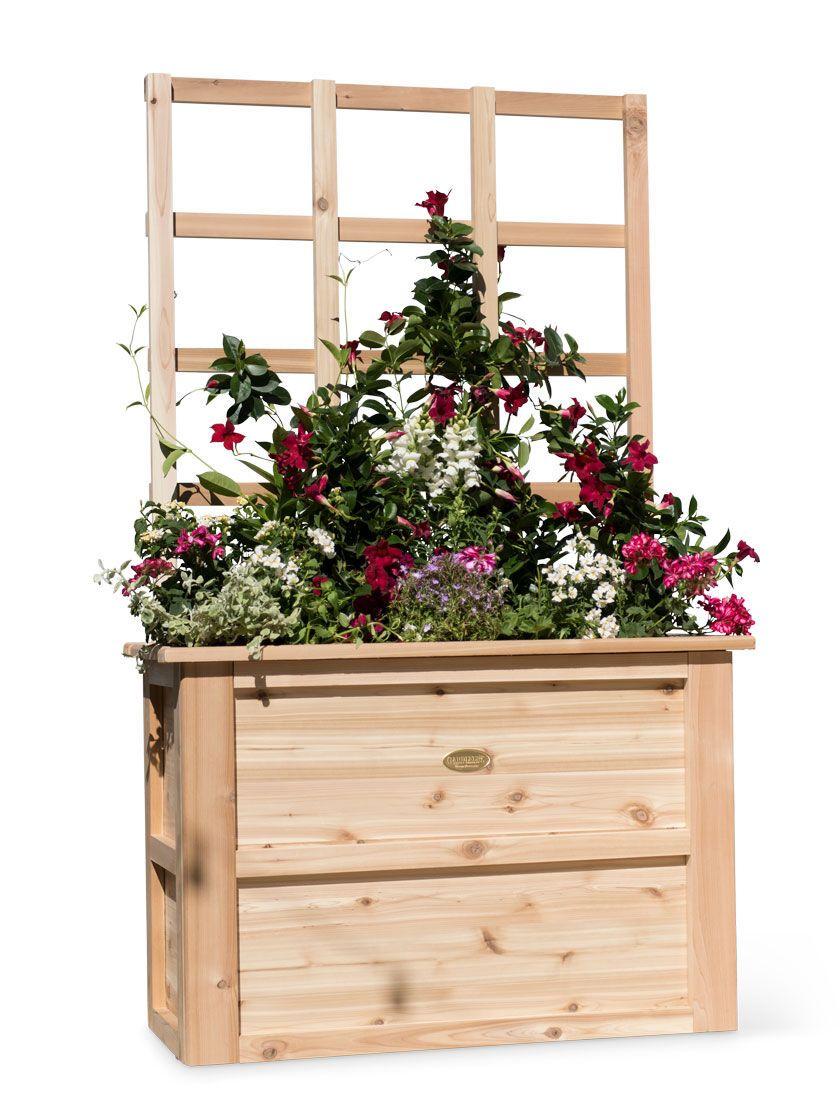 Cascade tall cedar planter box with trellis gardeners