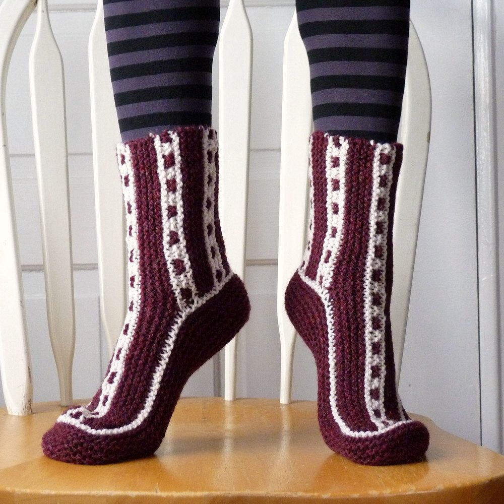 Knitted Socks / Slippers in Red and White - Hand Knitted Women Winter Home Socks / Slippers.