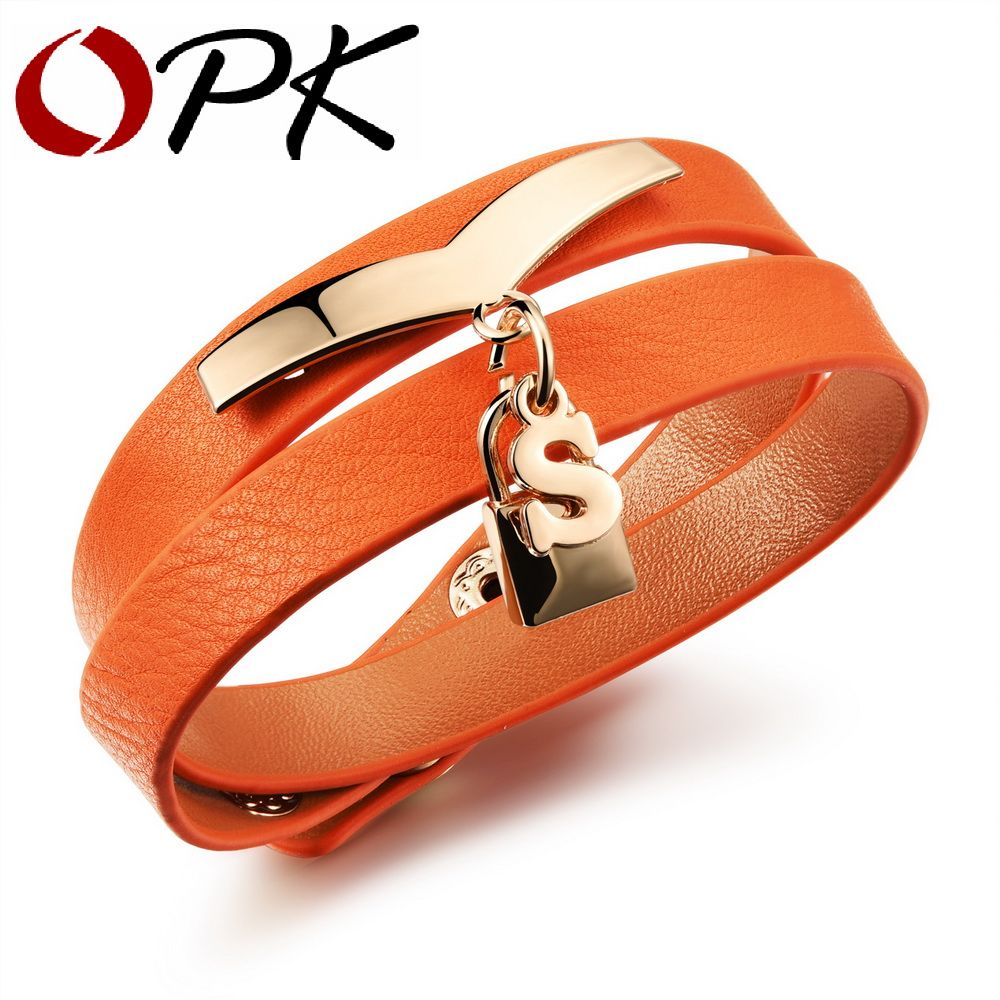 Opk woman wrap bracelets causal double layer leather bracelet s