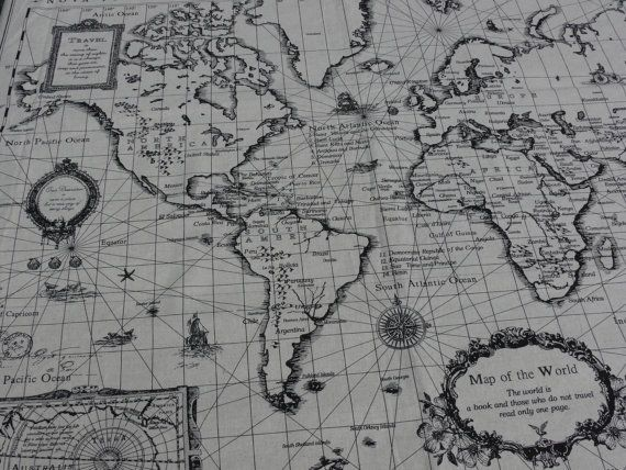 Vintage world print fabric mission pinterest printed linen world map print linen cotton blended fabric 1 panel by cuteone gumiabroncs Gallery