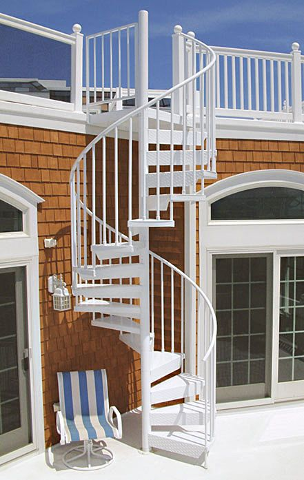 Best Aluminum Powder Coated Spiral Stair From A Rooftop Deck 400 x 300