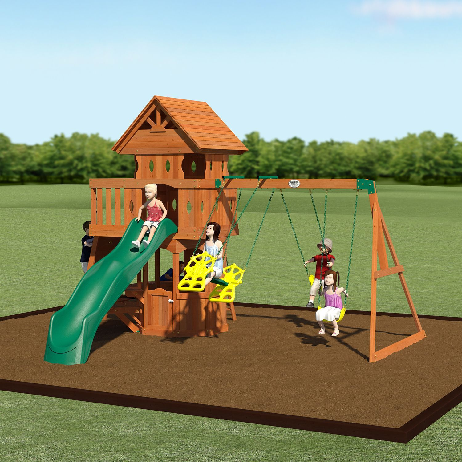 Backyard Discovery Woodland Cedar Swingset Swingset Wooden