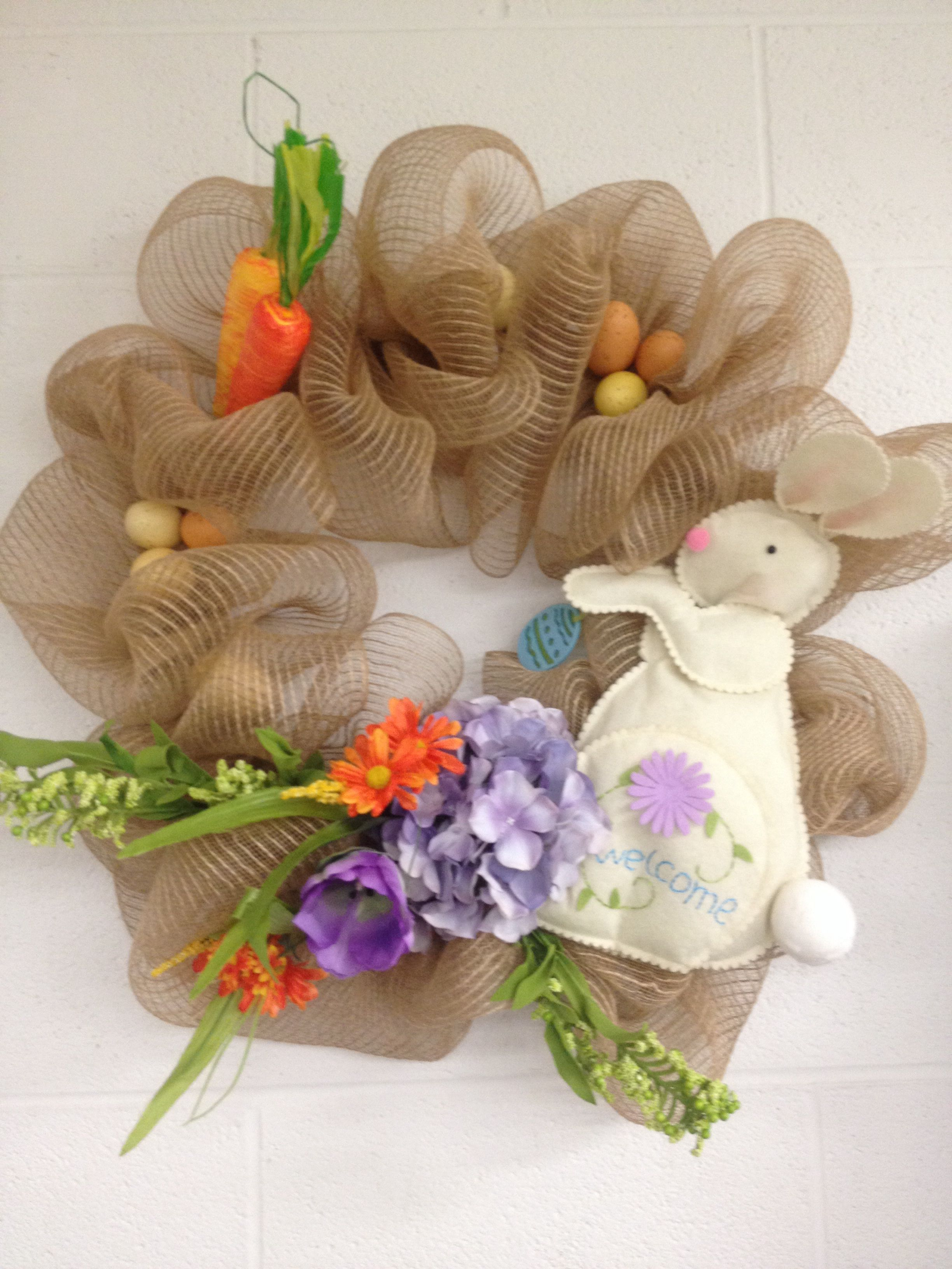 Easter burlap wreath bunny