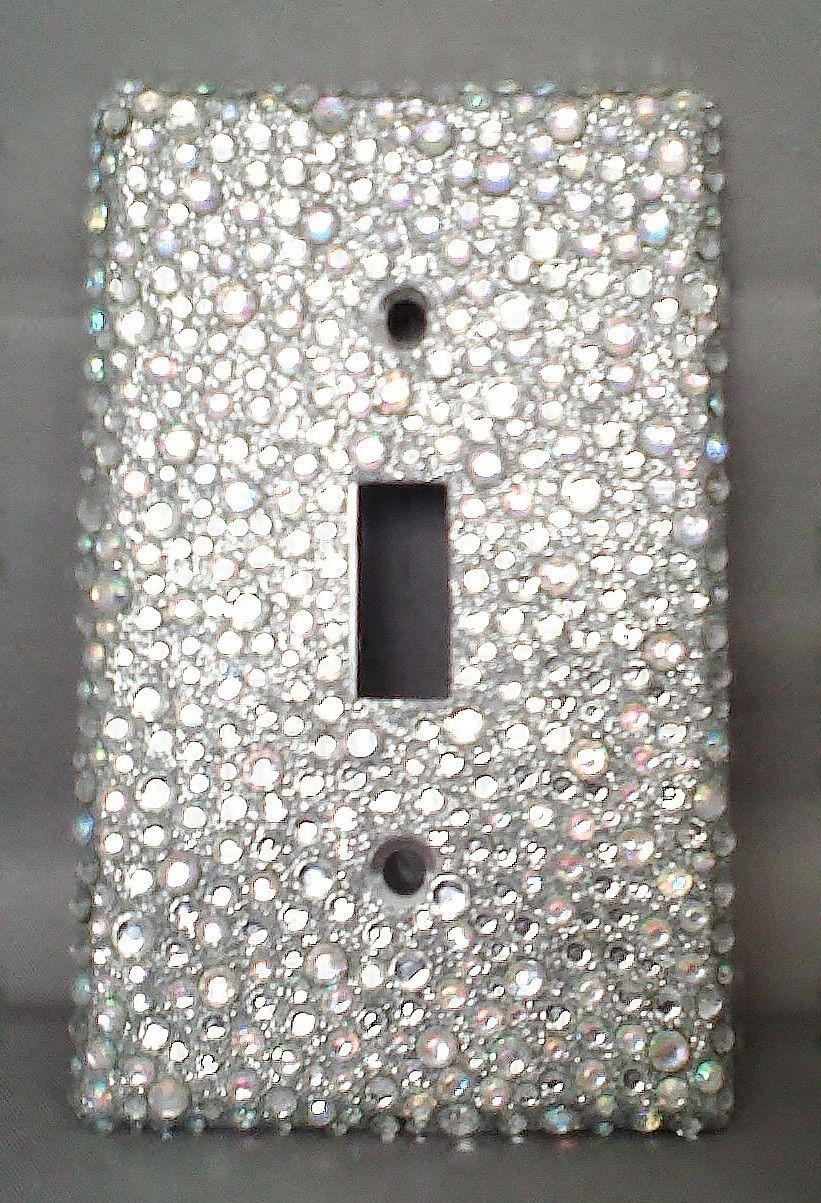 Silver Light Switch Covers Bling Silver Glitter With Clear & Ab Rhinestone Light Switch Cover