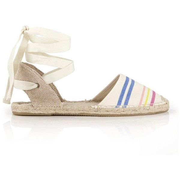 Soludos Candy Stripe Classic Sandals ($34) ❤ liked on Polyvore featuring shoes, sandals, natural, woven sandals, self tying shoes, wrap around sandals, wrap sandals and tie sandals