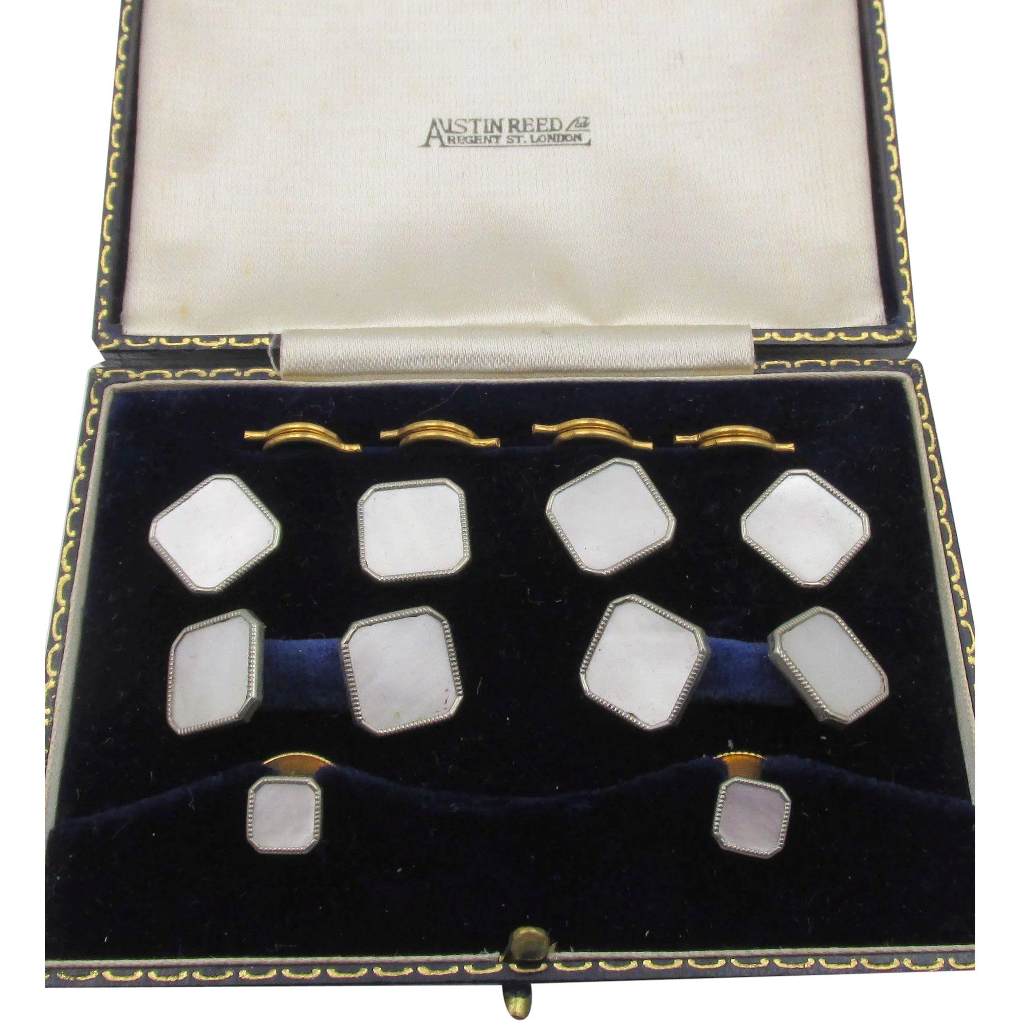Vintage Austin Reed London Mother Of Pearl Men S Cufflink Button Set Cufflinks Men Vintage Austin Cufflinks