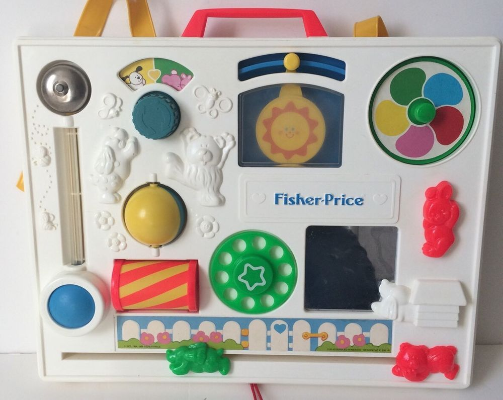 Crib activity toys for babies - Vintage Fisher Price Crib Activity Center Toy Baby Toddler Dial Spinner Bell Fisherprice