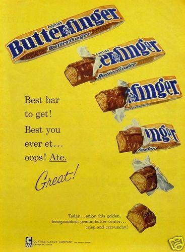 1960 Original Print Ad Curtiss Butterfinger Peanut Butter Chocolate Candy Bar | eBay