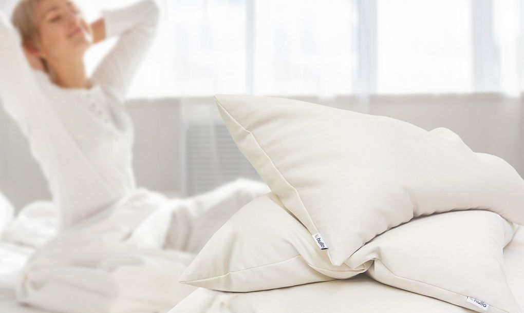 Woman Waking With Hullo Buckwheat Pillow Pillows Side Sleeper Pillow
