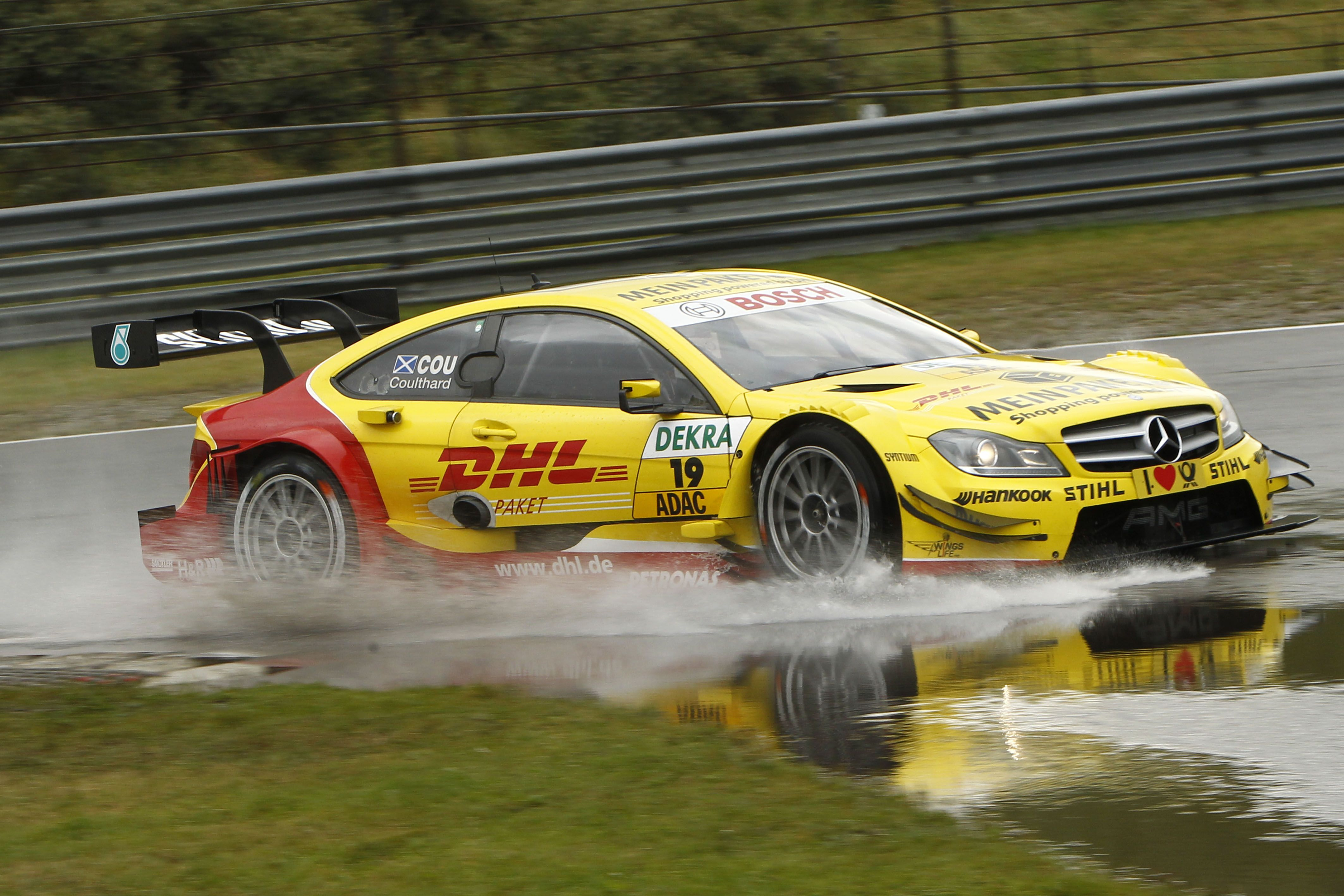David Coulthard, DHL Paket Mercedes AMG C-Coupé - yellow car ...