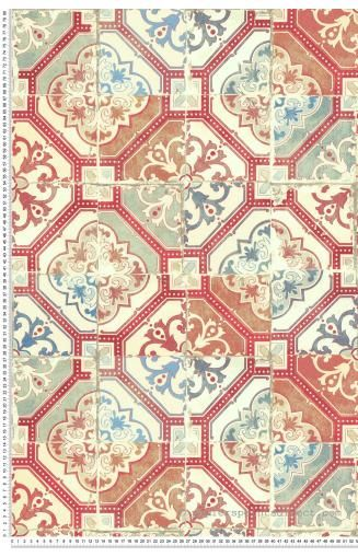 Papier peint Azulejos rouge bleu – Evasion de Lutèce   Réf. LTC-51170420