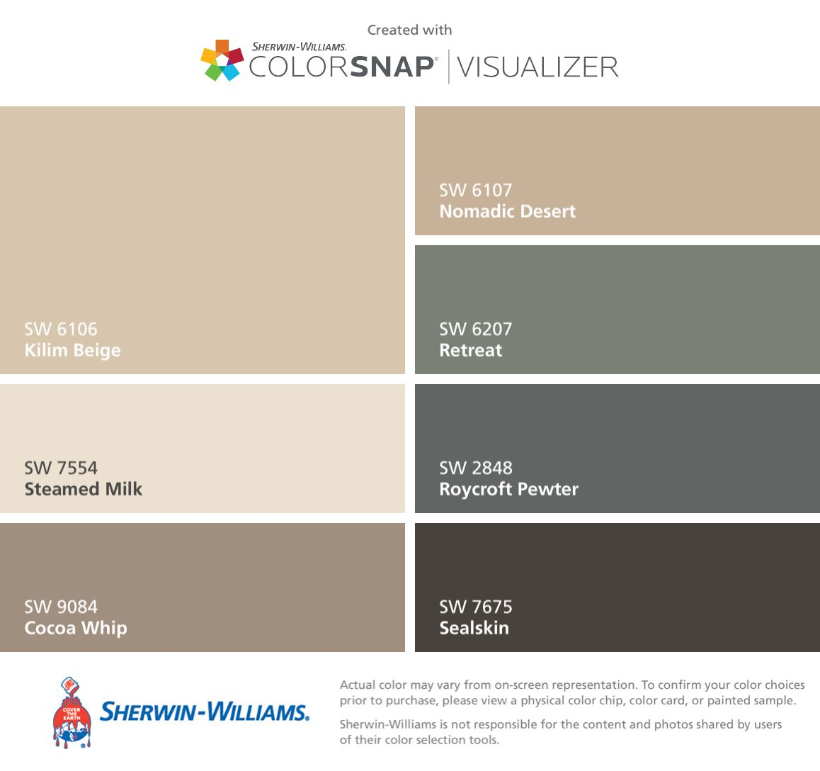 I found these colors with colorsnap visualizer for iphone Paint colors that go with beige