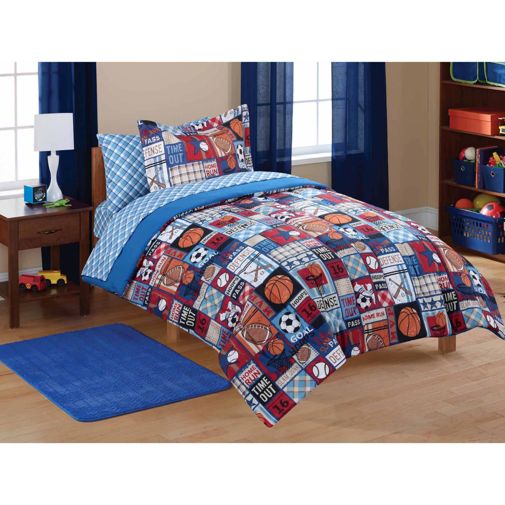 Boys sports bedding sets full - Mainstays Kids Sports Patch Coordinated Bed In A Bag Deal