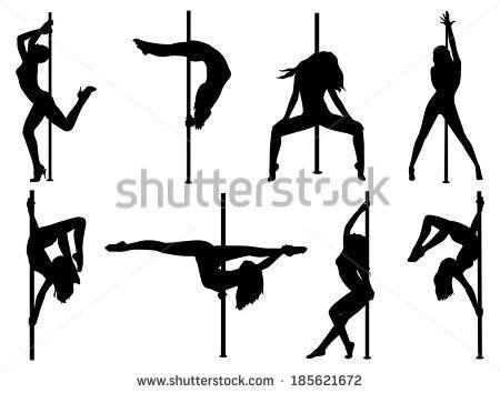 Pole Dance Women Silhouettes Eps 10 Format