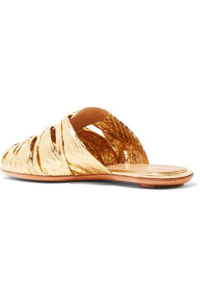 c3bd20b856de3 The Row - Capri Metallic Elaphe Slippers - Gold - IT38
