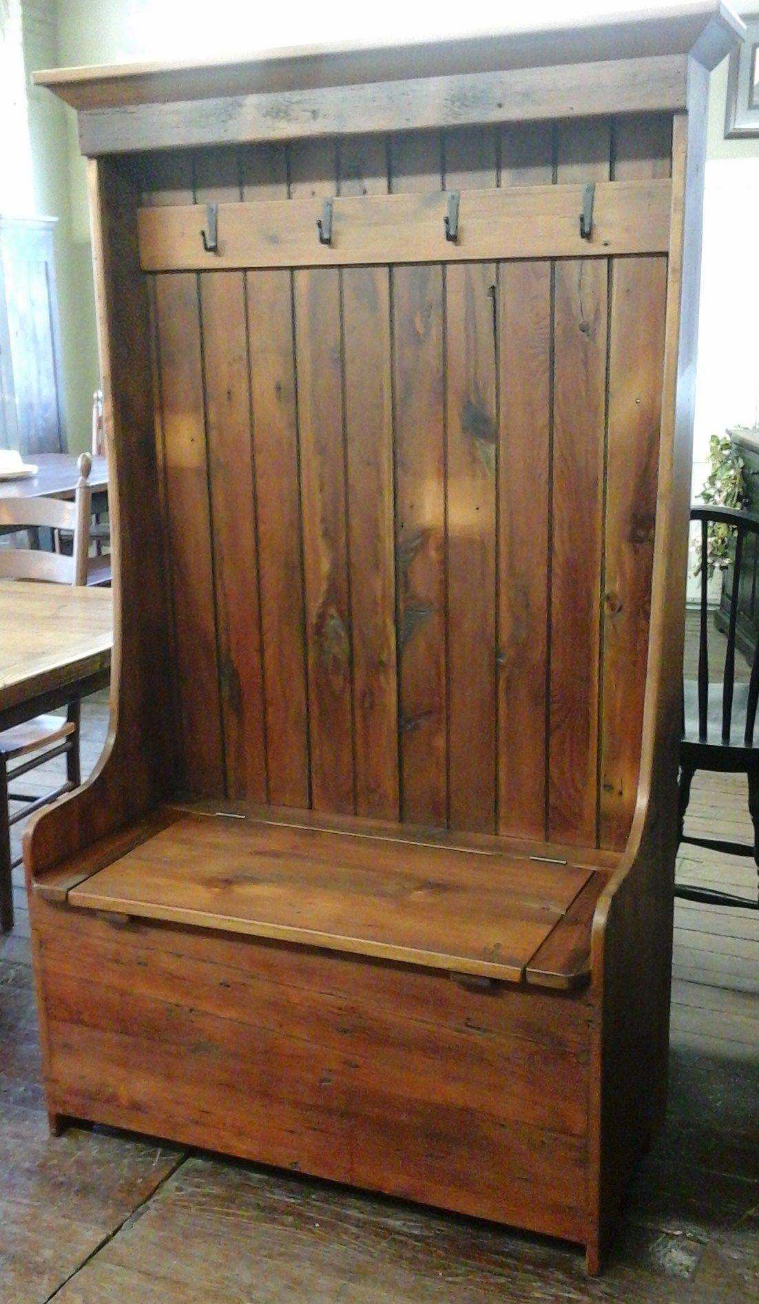 Reclaimed barn wood furniture barn wood settle bench for Furniture barn