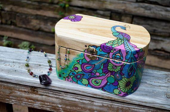 Jewelry Trinket Keepsake Box With Pyrography Wood by artyoucanuse, $85.00