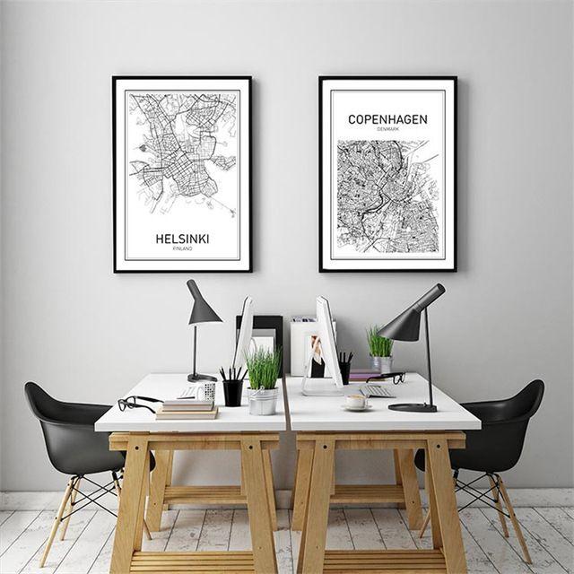 Moderne wereldkaart decoratieve schilderij zwart wit minimalistische ...