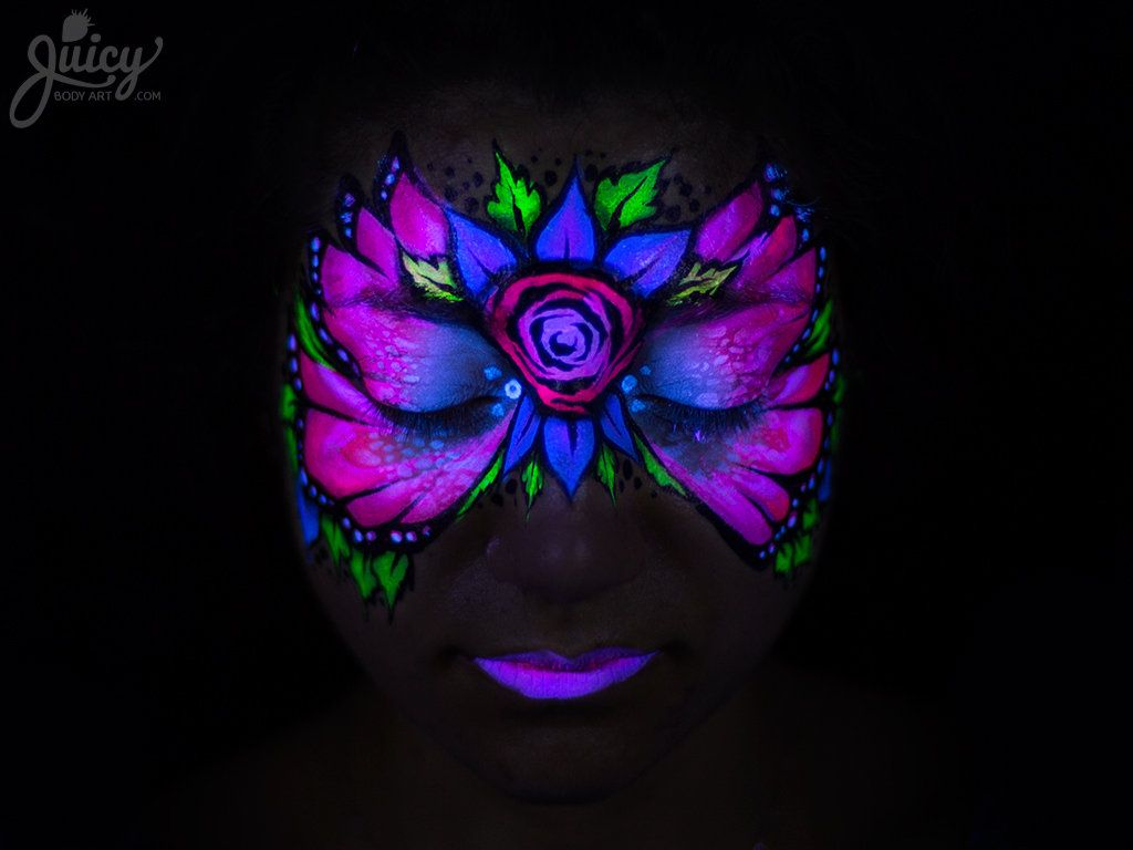 Bring on the night with fluoro face paint! It glows under ...