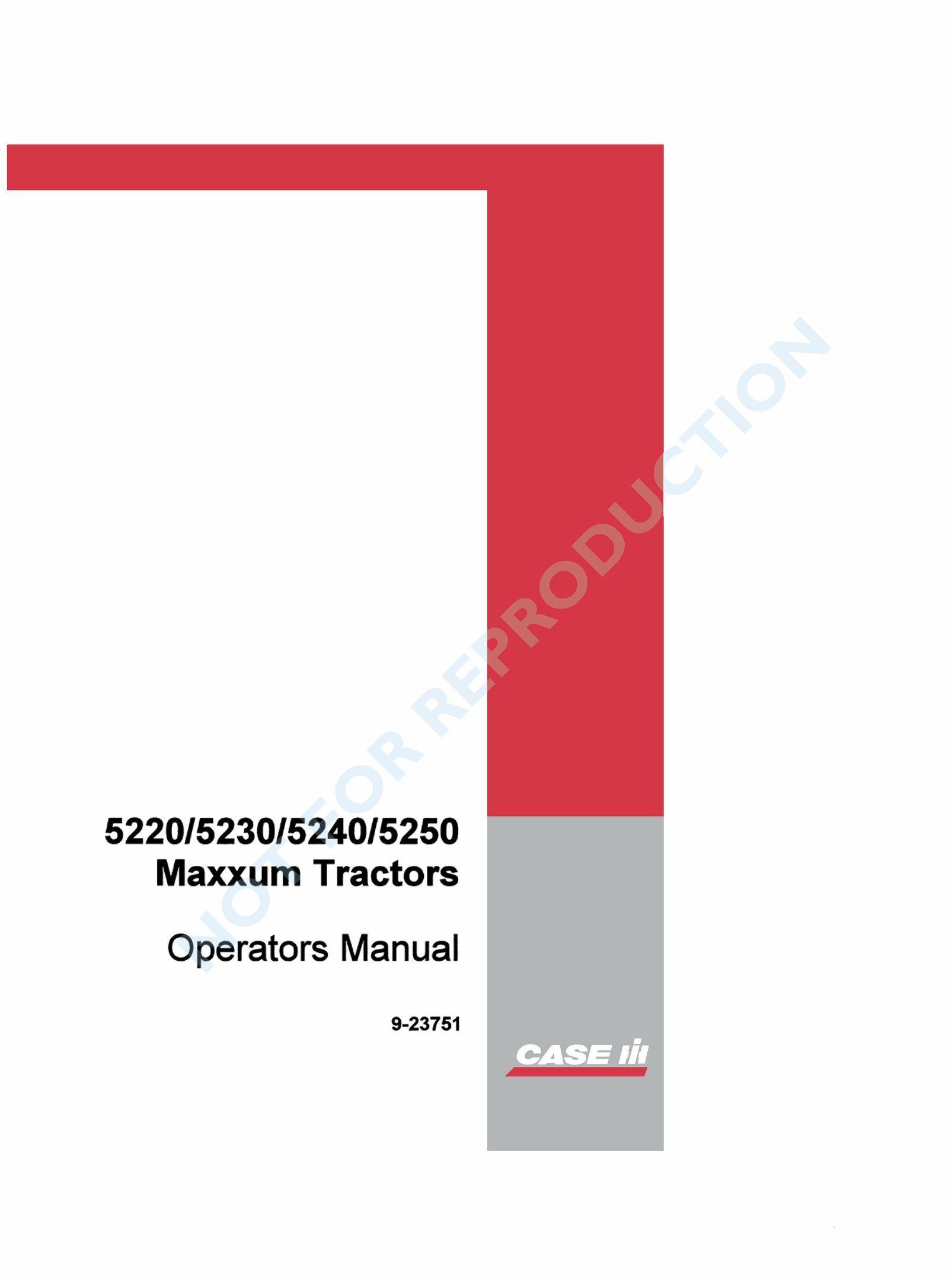 Case Ih Maxxum 5220 5230 5240 5250 Operator's Manual PDF