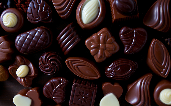 Download Wallpapers Chocolate Sweets Sweets Different Candies Chocolate Besthqwallpapers Com Holidays Sweets Chocolate Sweets Yummy Food Dessert