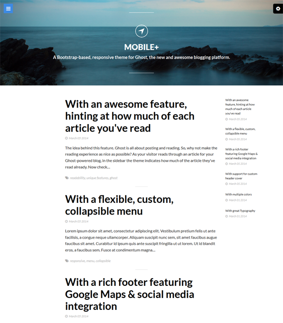 This minimal Ghost theme includes Bootstrap integration, a