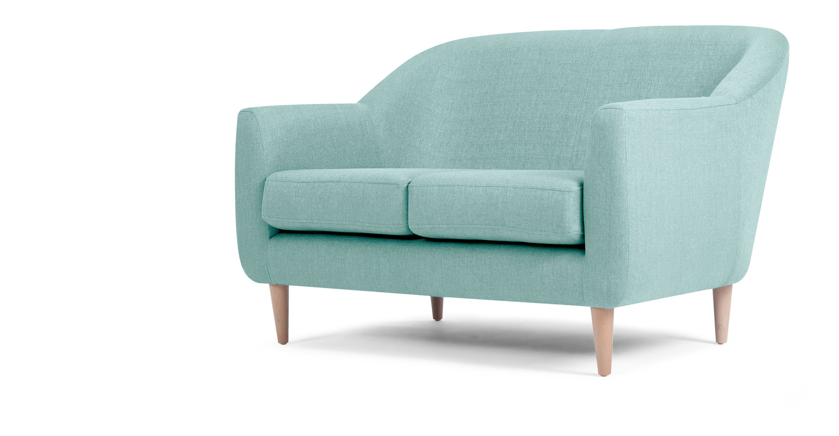 For The London Flat 2 Seater Sofa In Turquoise Blue