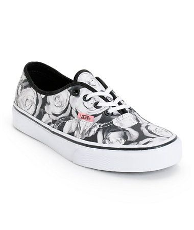 5a3dd9c6d7d5 Vans Girls Authentic Digi Roses Black White Shoe at Zumiez   PDP