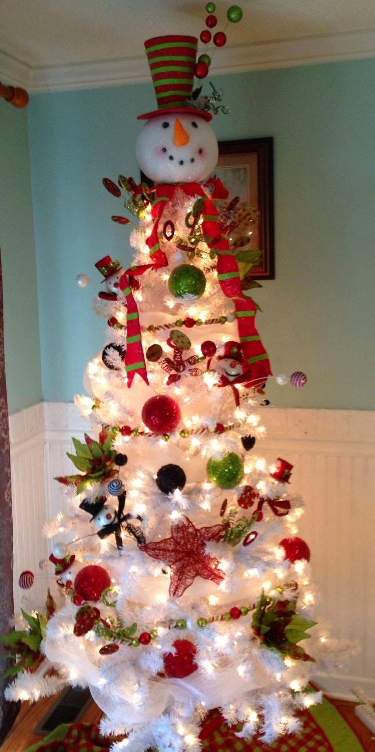 How to make a snowman christmas tree topper - Pinner Snowman Tree I M Looking For A White Tree Reasonable Priced