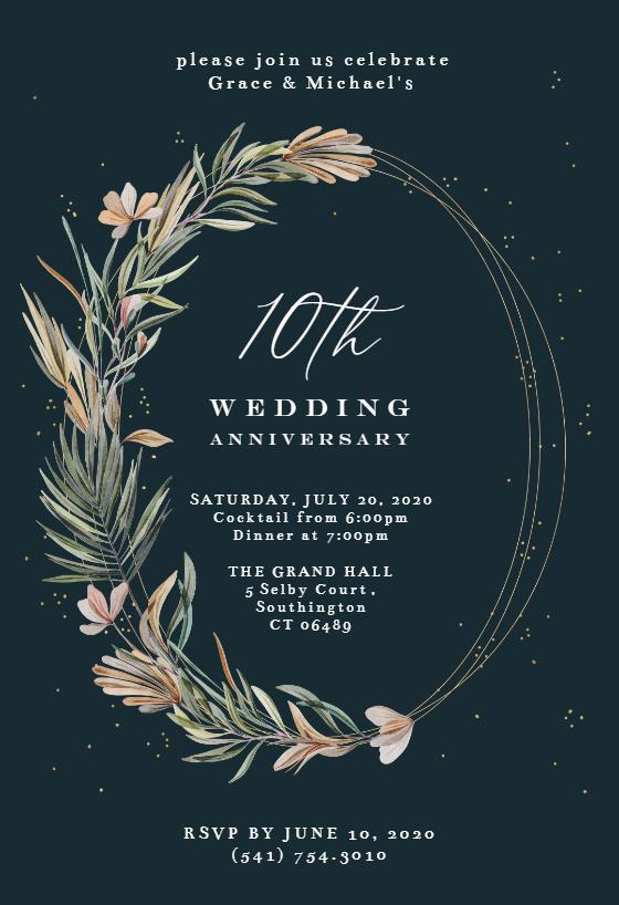 Garden Wreath Rings Anniversary Invitation Template Free Greetings Island Anniversary Invitations Invitations Farewell Invitation Card