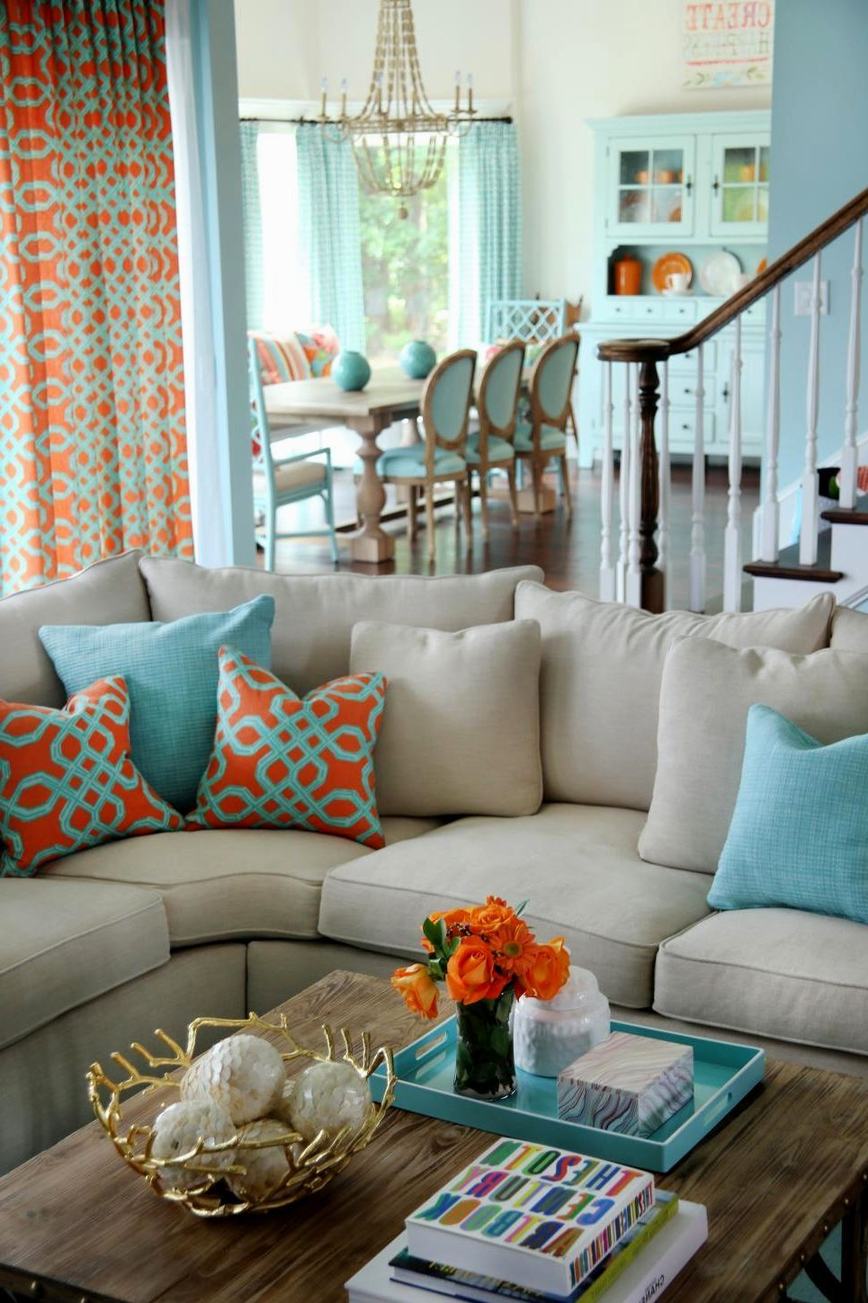 Orange And Aqua: Orange-and-aqua-living-room-orange-and-teal-living-room