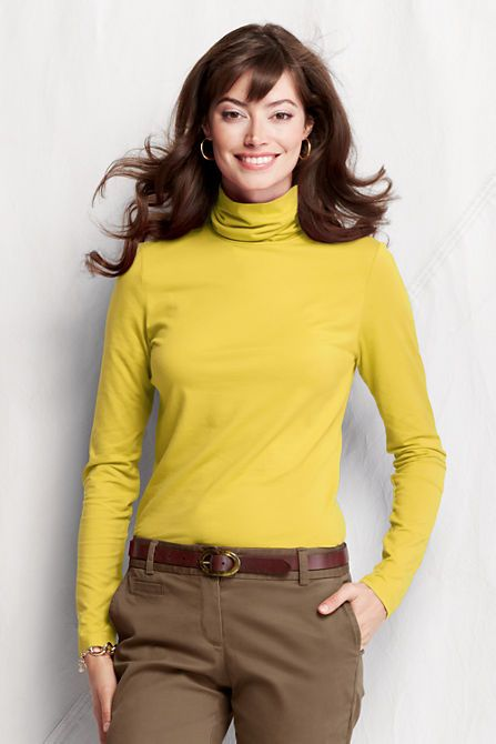 db05a3d65098e Women s Long Sleeve Solid Fitted Lightweight Cotton Modal Turtleneck from  Lands  End