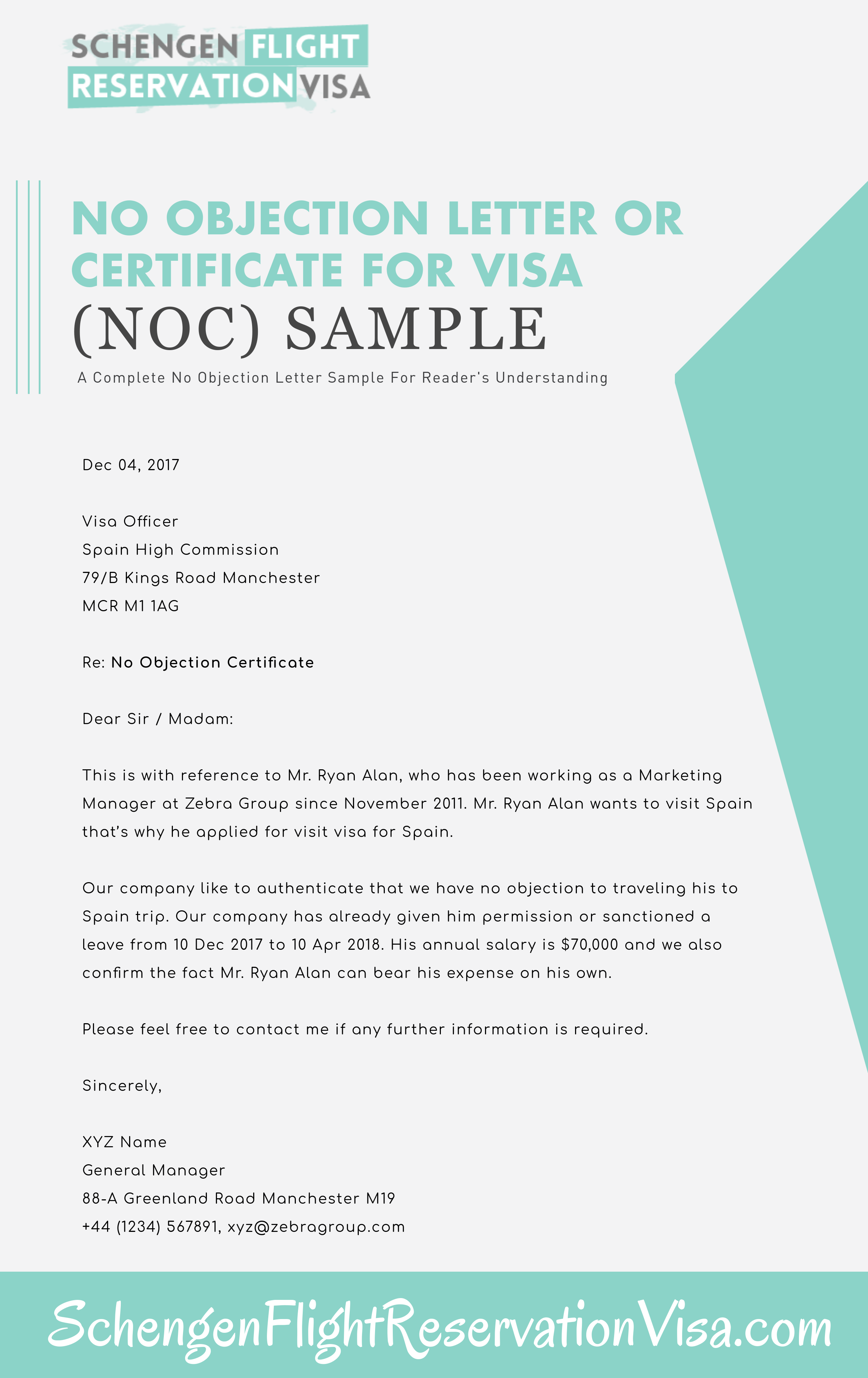 No Objection Letter For Visa Application Sample